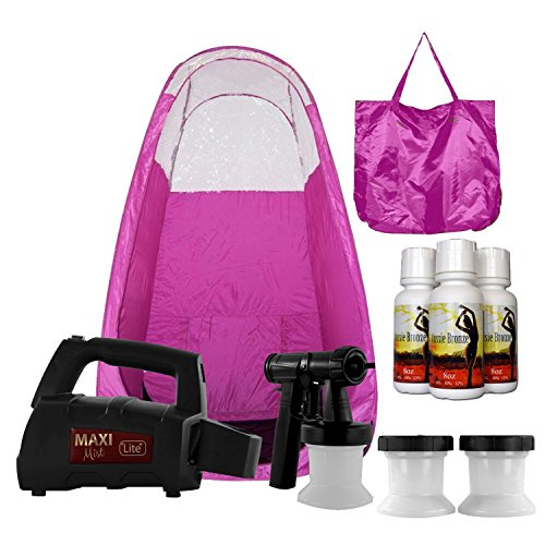 Self Tanning System (Maxi-Mist Lite Plus Sunless Spray Tanning KIT, Tent, Machine HVLP Airbrush Tan, Maximist PINK)