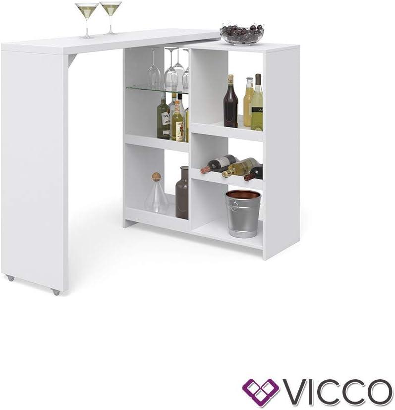 ohne Barhocker Vicco Bartisch Bar Vega Wei/ß Tresen Bartresen Stehtisch Tisch Tresentisch Bistrotisch K/üche wahlweise mit Barhocker