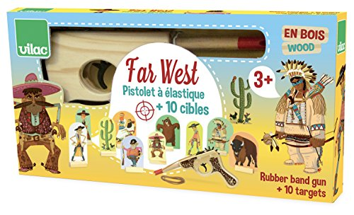 Vilac Vilac9911 Far West, Wooden Gun with Rubber Band and Targets