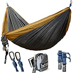"WINNER OUTFITTERS Double Camping Hammock - Lightweight Nylon Portable Hammock, Best Parachute Double Hammock For Backpacking, Camping, Travel, Beach, Yard. 118""(L) x 78""(W)"