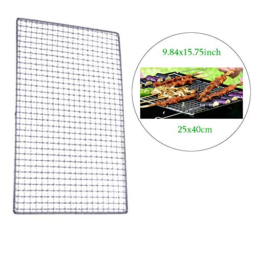- Vivian Barbecue Grids Metal Squares Holes Grilling Barbecue Wire Mesh Net (40x25cm)