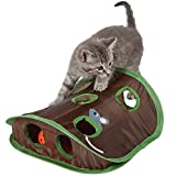 ANG Cat Mice Toy Hide & Seek Game Pop-up Collapsible Puzzle Exercise Toy 9 Holes Mouse Hunt with Bell-ball
