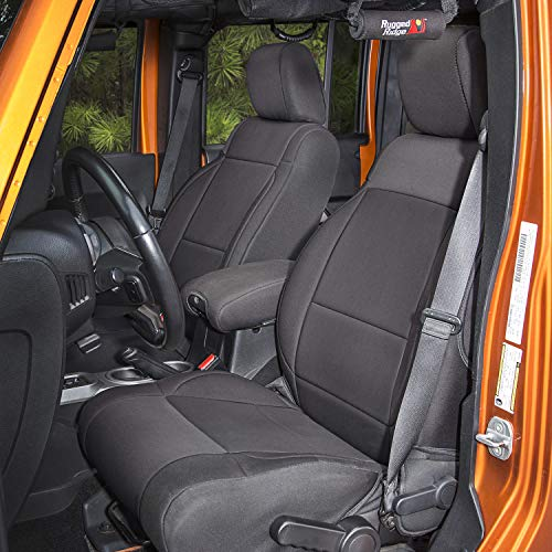 Rugged Ridge 13295.01 Black Seat Cover Kit, 2007-2010 Jeep Wrangler JKU, 4 Door, 2 Pack