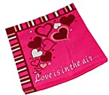 """Custom Made & Disposable {6.5"""" Inch} 120 Bulk Pack of 2 Ply Mid Size Square Food & Beverage Napkins, Made of Soft Absorbent Paper w/ Love In The Air Valentines Day Classic Style {Pink, Black & White}"""