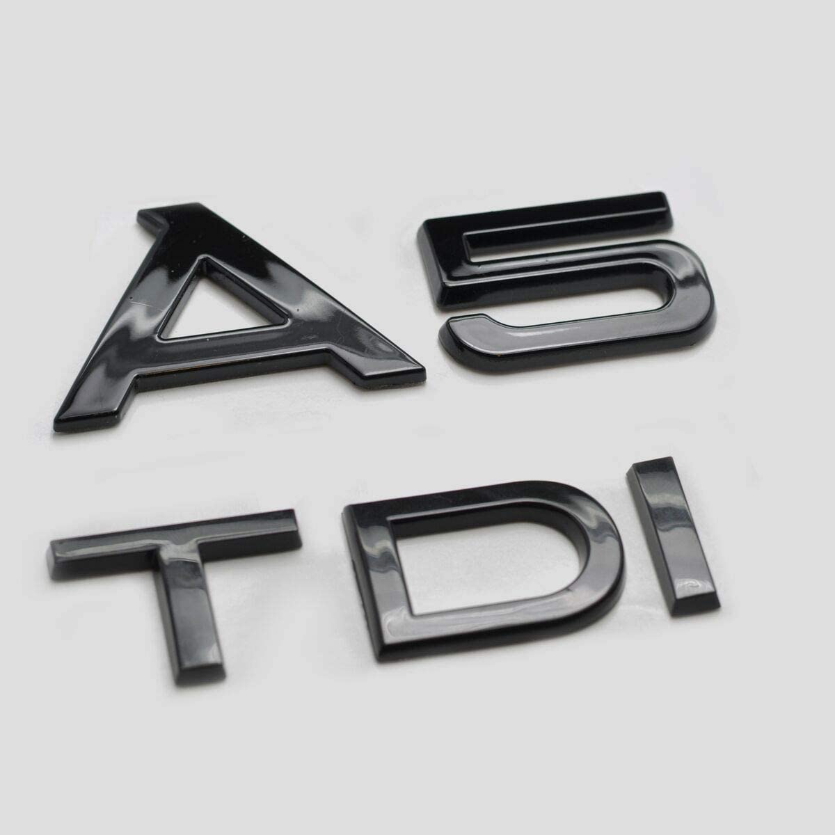 Noir Brillant A5 TDI Caract/ères Nombres Lettres Arri/ère Couvercle de Coffre Badge Embl/ème Compatible Pour A5 Mod/èles