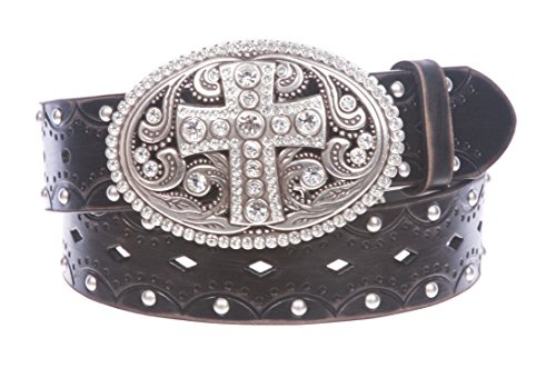 Embossed Studded Belt - Studded Perforated Embossed Leather Belt With Rhinestone Bling Cross Buckle Size: L/XL - 40 Color Black