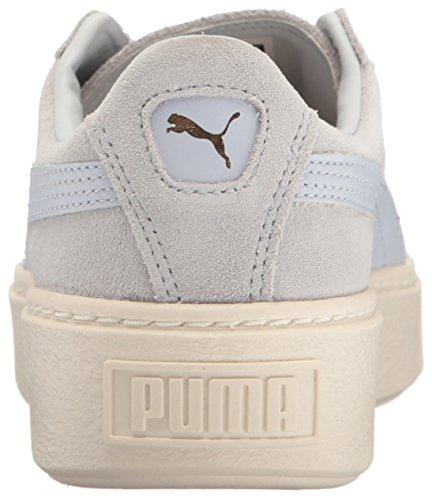 PUMA Damen Wildleder Plateau Core Fashion Sneaker Halogen Blau-Whisper Weiß
