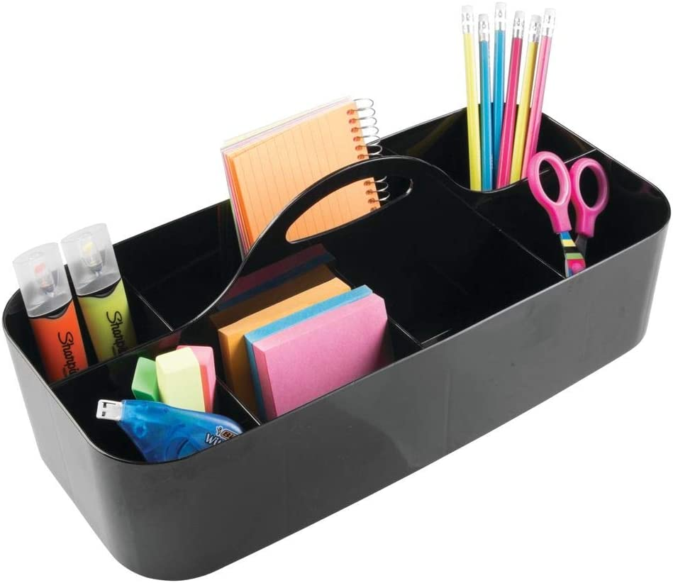 mDesign Large Office Storage Organizer Utility Tote Caddy Holder with Handle for Cabinets, Desks, Workspaces - Holds Desktop Office Supplies, Gel Pens, Pencils, Markers, Staplers - Black
