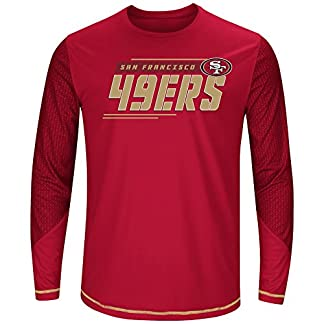 finest selection 9b7e1 8e9bf NFL San Francisco 49ers Men L/S POLY TEE GEO-HEX, C.RED/GOLD, 4X