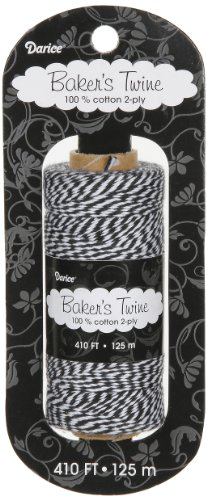 Darice BT103 2-Ply Bakers Cotton Twine, 410-Feet, Black/White (Bakers Cotton White Twine)