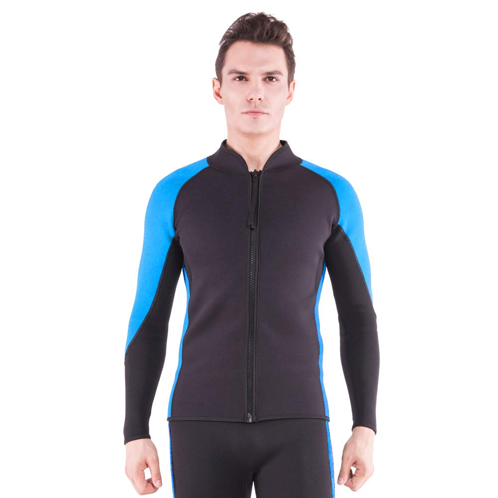 Flexel Wetsuit Top 2mm Premium Neoprene Jacket/Scuba Diving Vest for Swimming Snorkeling Surfing Fishing(2mm Jacket Ocean, 2X-Large) by Flexel