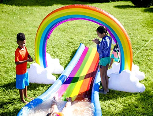 NaNa Chic Jewelry Forstart Summer Sprinkler Toy Inflatable Rainbow Inflatable Rainbow Arch Lawn Beach Outdoor Toy Oversize 6 Feet Rainbow Color by NaNa Chic Jewelry (Image #2)