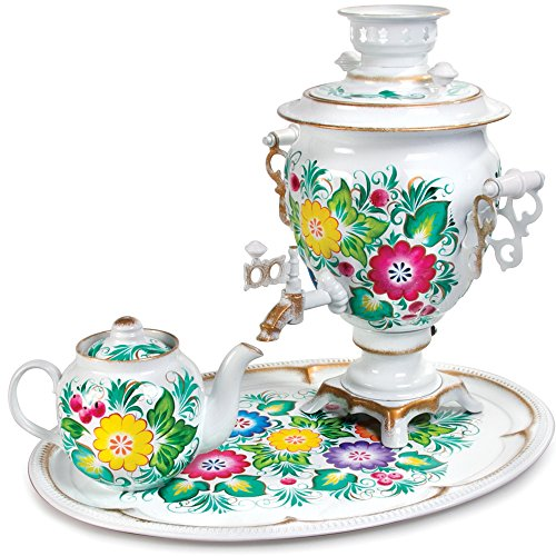 Bright Bouquet Electric Samovar Set with Tray & Teapot Russian Samovar