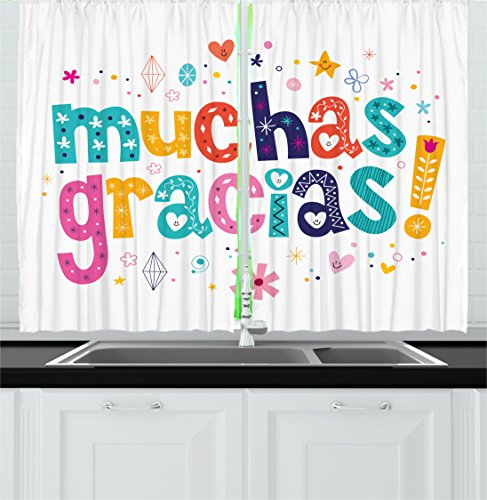 Ambesonne Mexican Decor Kitchen Curtains, Spanish Thank You
