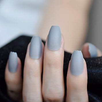 Amazon.com: Uñas de coffin gris, acabado mate, punta de uñas ...