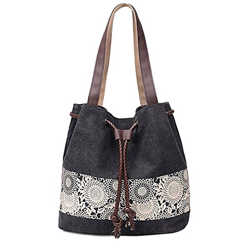 Drawstring Tote Handbag (YOURNELO Women's Canvas Tied Drawstring Closure Handbag Tote Shoulder Bag (Black))