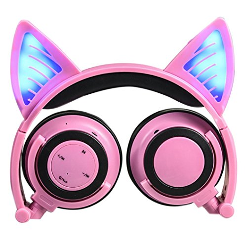 (Longay Foldable Flashing Glowing Cute Cat Ear Headphones Gaming Headset Earphone with LED light For PC Laptop Computer Mobile Phone (A))
