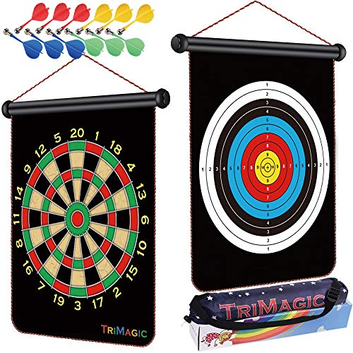TriMagic Magnetic Dart Board with 12 Safety Darts and Portable Bag - Best Birthday Gift Toys for 5 6 7 8 9 10 12 Year Old Boys