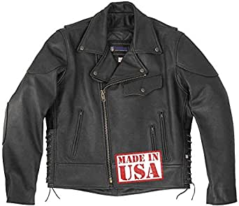 Legendary USA Men's Black Hills Leather Motorcycle Jacket-Black-40