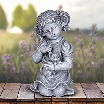 "Exhart Child & Kitten Garden Statue – Imitation Stone Statue of Little Girl & Cat – Child Art Resin Decor Best for Porch, Yard, Patio, and Garden, 10"" Stone Girl Statue, Classic Garden Decor"