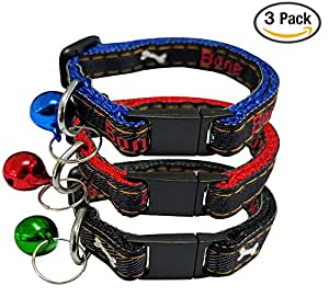 Cat Collar with Bell, Set of 3, Solid Cat Collar, Made of Nylon, Colorful, for Small Dogs, By Bemix Pets (Bones)