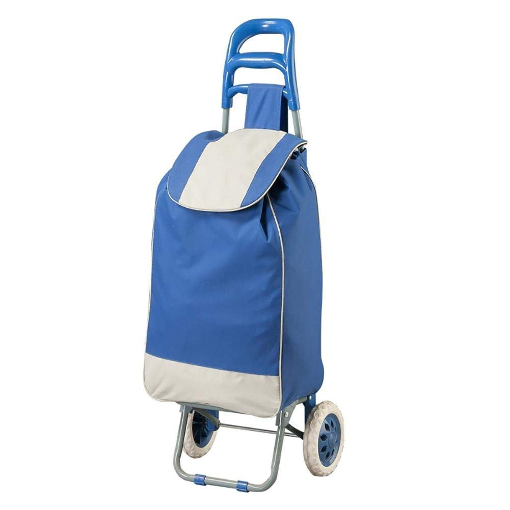 Shopping Trolley Blue 2 Wheel Fold Collapsible Grocery Cart Bag