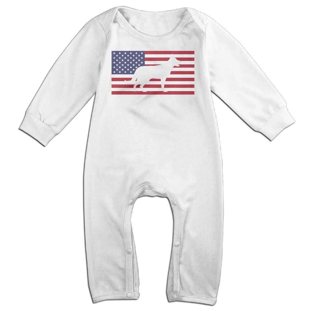 Mri-le1 Toddler Baby Boy Girl Long Sleeved Coveralls German Shepherd USA Flag Toddler Jumpsuit