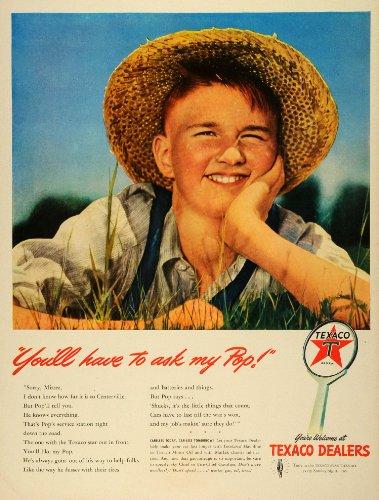 1942 Ad Texaco Motor Oil Farmer Boy Straw Hat Overalls Automobile Lubricant Gas - Original Print Ad from PeriodPaper LLC-Collectible Original Print Archive