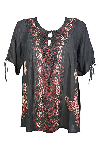 Mogul Interior Lena Womens Summer Tunic Blouse Embroidered Designs Boho Gypsy Style Beach Top X-L (Black 2) (Tunic Embroidered Heaven)