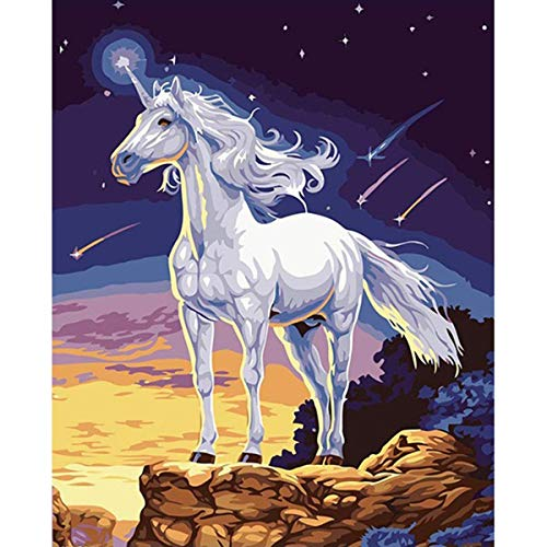 DIY Paint by Numbers Kit for Adults - Unicorn | Paint by Numbers Landscape Scene Paintings Arts Craft for Home Wall Decor | Pre-Printed Art-Quality Canvas 20 x 16, 3 Brushes, 24 Acrylic Paints