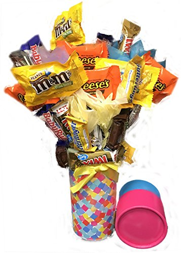 Candy Bouquet Fun Sized! Mini Candy Variety Assortment - Easter - Birthday Gift - Get Well Soon - Thank You
