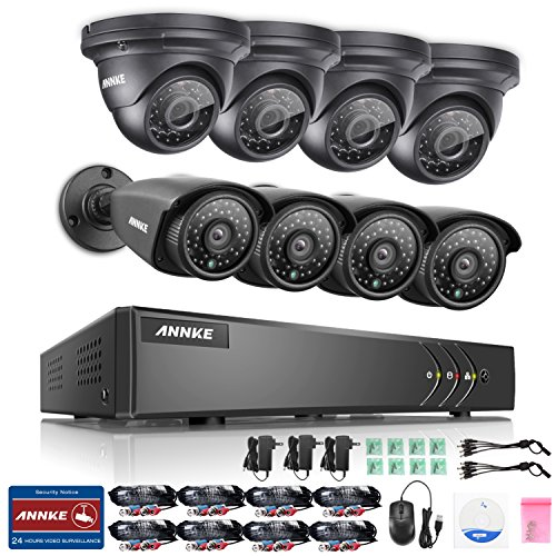 ANNKE 8CH HD-TVI 1080P Lite Video DVR and (8) 960p 1.3MP Indoor/Outdoor Fixed Cameras with IP66 Weatherproof Metal Housing-NO HDD