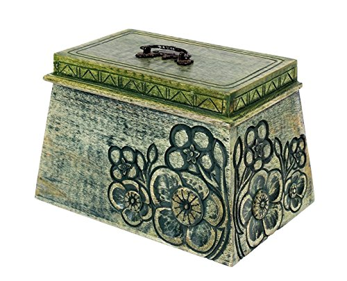 Keepsake Box Multipurpose Storage Organizer Wooden with Floral Hand Carvings, 9 x 6 inches
