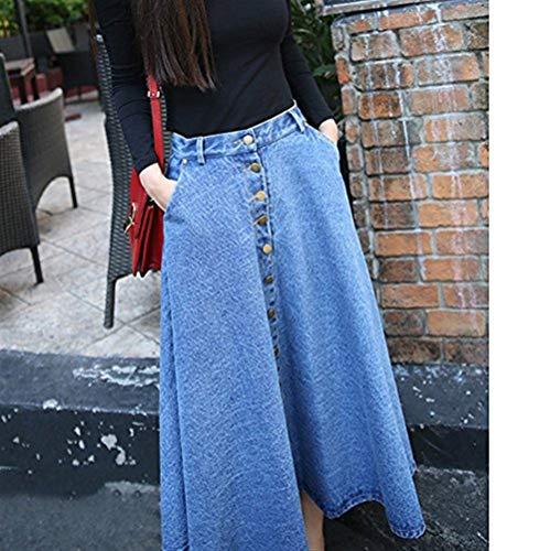 Genou Classique Jupes Blau Latrales Longueur Vintage Mode Jupes du Denim Linie Automne Poches De Jeune Jupe Femme Patte Fille Maxi lgant A Jupe Jupe Boutonnage Poitrine Vintage xSF6qqI