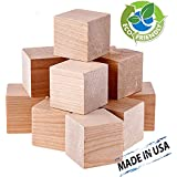 Wood Blocks 1.5 Inches (32 Pack) Made in USA - Unfinished Wooden Blocks for Crafts and Carving, Plain Blank Natural Wood Blocks
