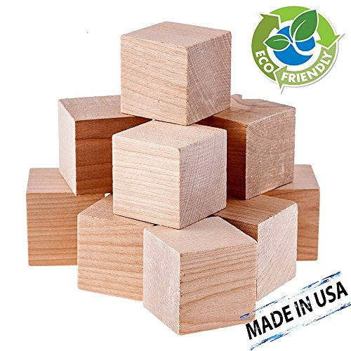 Diycrew plain blank natural unfinished wooden blocks 1 5 for Where to buy wood blocks for crafts