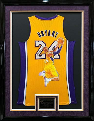 Autographed Kobe Bryant Jersey - & Framed Painted Panini PA28480 - Panini Certified - Autographed NBA Jerseys