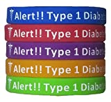 Type 1 Diabetes Bracelets Silicone Medical Alert Wristbands (Pack of 5) Adult & Kids Sizes