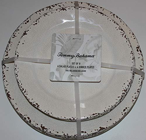 Tommy Bahama 100% Melamine Rustic Beige Salad & Dinner Plates - Set of 8 (Plates Rustic Melamine)