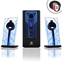 GOGROOVE BassPULSE PC Laptop Computer Speaker System with Blue LED Glow Lights and Powered Subwoofer-Works with PC, Apple MAC, ASUS, Acer, Alienware, CybertronPC, Dell, HP, and More Computers - Includes Bonus Ball & Mouse Pad