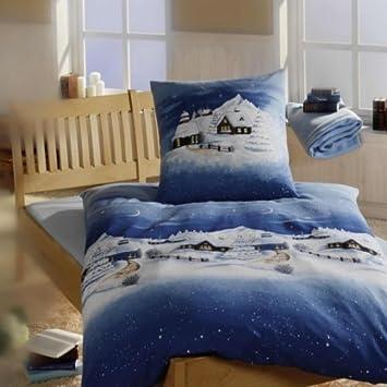 Linon Bettwäsche Weihnachtsbettwäsche Winterlandschaft In Blau