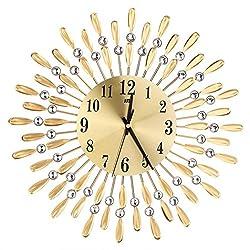 Braceus 15inch 3D Large Wall Clock Shiny Rhinestone Sun Style Modern Living Room Decor (Golden)