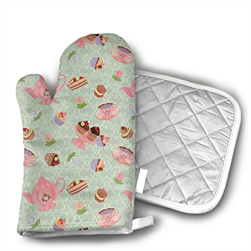 Retro Style Tea Cups Royal Oven Mitts,Heat Resistant Oven Gloves Insulation Thickening Cotton Gloves Baking Kitchen Cooking Mittens with Soft Inner Lining