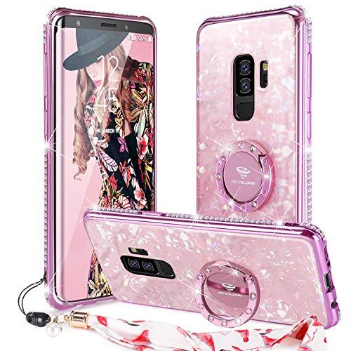 Cute OCYCLONE Galaxy S9 Plus Case, [Tempered Glass] Pretty Marble Glitter Diamond Rhinestone Bumper Ring Kickstand for Samsung Galaxy S9 Plus Protective Case for Women Girls Cute - Rose Gold [Pink]