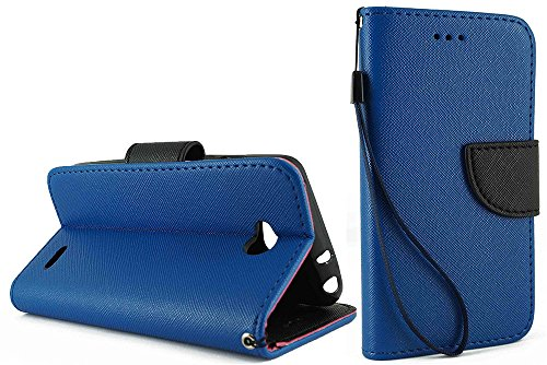 NEM Premium Leather Protective Flip Folio PU Leather Wallet Bumper Case Phone Holder and Card Slots with Kickstand for LG Optimus L90 LG D405-Dark Blue ()