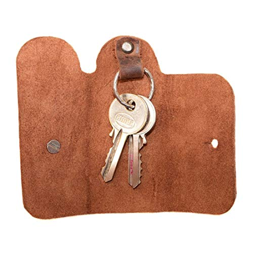 Hide & Drink, Leather Key Cover/Key Ring/Holder/Organizer/Case/Stylish/Accessories, Handmade Includes 101 Year Warranty :: Bourbon Brown