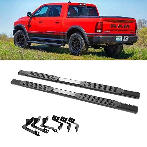 Cheap A&K Fit 2009-2016 Dodge Ram 1500 Running Board Quad Cab (2 Full Size Doors + 2 Half Size Doors) with Mounting Hardware Oval Steel Tubular Nerf Side Bar for sale