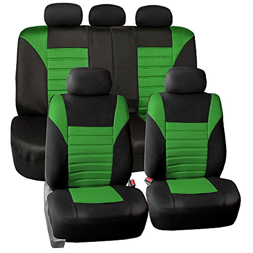 FH Group FB068GREEN115 Universal Car Seat Covers Premium 3D Airmesh Design Airbag and Rear Split Bench Compatible Green