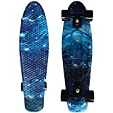 """CHI YUAN 27"""" Cruiser Skateboard Graphic Series Galaxy Blue Starry Board Comes Complete"""