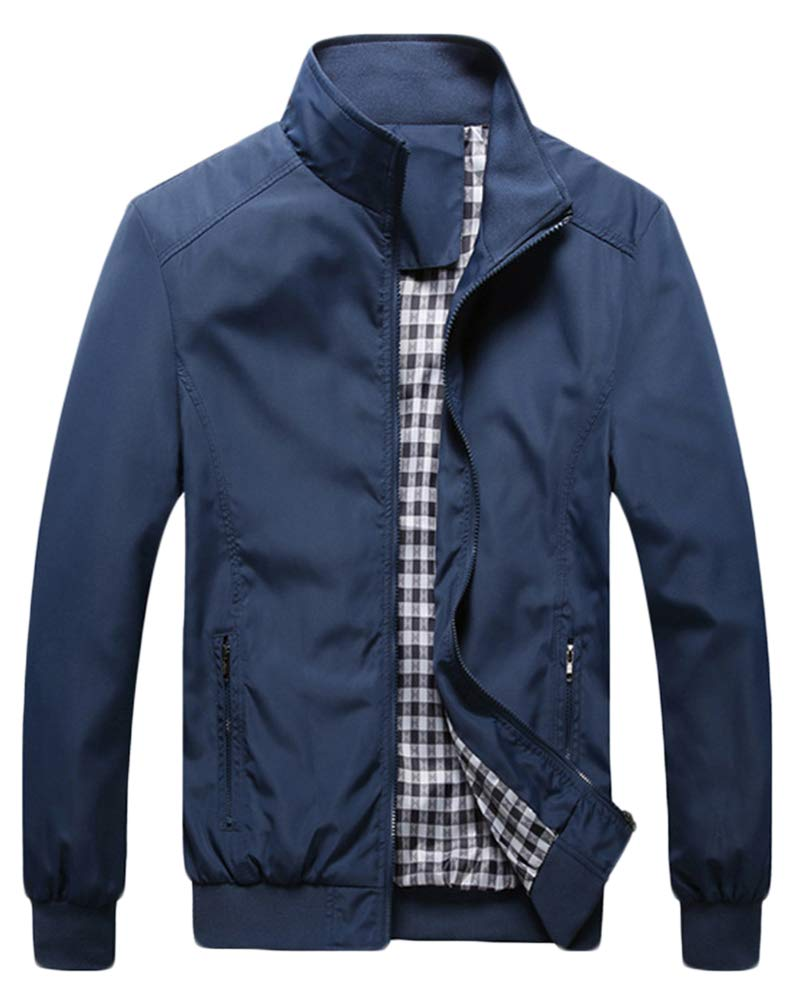 QitunC Hombre Chaqueta Bomber Plus Size Collar De Pie Cremallera Cazadora Abrigo Azul Oscuro XXXL product